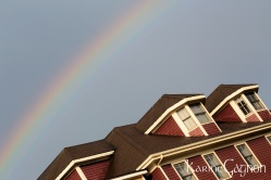 A rainbow above a Charlottetown house