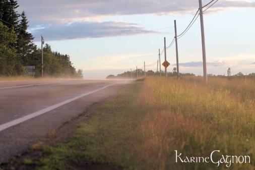 Mist rising off a road after a rain storm