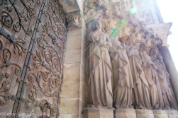 Statues adorning the main portico of Saint Fin Barr Cathedral